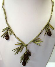 SILVER SEASONS BY MICHAEL MICHAUD ⚜ SEQUOIA PINE CONE & LEAF NECKLACE  8838