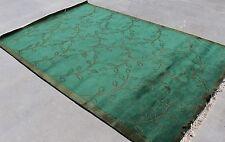 R13989 Dark Green Color Tibetan Woolen Area Rug 6' X 9' Handmade in Nepal