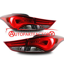 LED Taillights For 2011-2013 Hyundai Elantra Rear Lamps Assembly Smoked Red