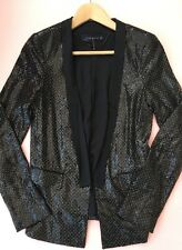 ZARA Black Polka Dot Sequin Blazer Jacket Tuxedo (Extra Small) XS 6/8 A399