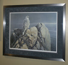 Robert Bateman Evening Light White Gyrfalcon s/n framed