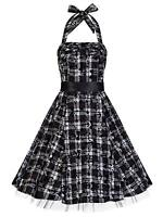 50's Alternative Black White Tartan Tattoo H/Neck Rockabilly Dress New 8 - 18