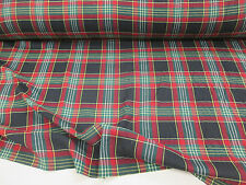 """Red, Green & Black Tartan/Plaid Checked 100% Cotton Twill Weave Fabric. 54"""" Wide"""