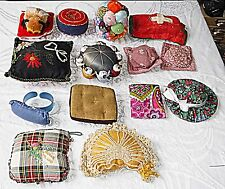 VINTAGE NEEDLEWORK & SEWING NOTIONS 14 PIN CUSHIONS SILK FELT CROCHET EMBROIDERY