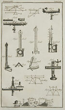 1765 ANTIQUE PRINT ~ LEVEL VARIOUS APPARATUS LEVELLING LENS DIAGRAMS