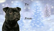 Staffordshire Bull Terrier Xmas Labels by Starprint-No2