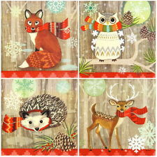 4x Single Table Party Paper Napkins for Decoupage Decopatch Craft Animal & Scarf
