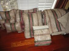 CROSCILL DOVER MANOR DUNHILL MULBERRY GREEN STRIPE (7PC) KING COMFORTER SET