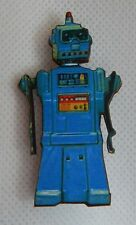 Blue Retro Style Robot Brooch or Scarf Pin Fashion, Wood Handmade accessories
