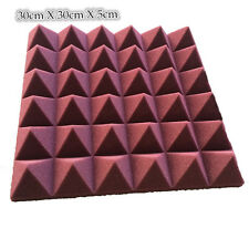 8 PCS Acoustic Foam Pyramid in Burgundy Acoustic Wall Panel 30cm X 30cm X 5cm
