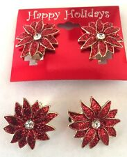 NEW! Happy Holidays Poinsettia Flower Red Crystal Clip Christmas Earrings~NWT