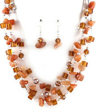 Brown Multi Layered Bead Stone Chips Bib Necklace Earrings Fashion Jewelry Set