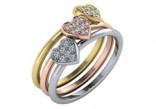 0.21 ct F VS natural round diamond heart fashion stackable 3 rings 3 tone gold
