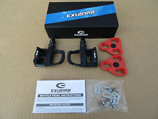 Exustar E-PR100PP Look Keo Cleat Compatible Road Bike Cycle Pedals inc Cleats BK