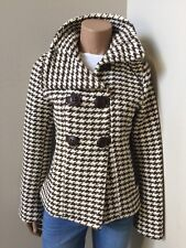 SOIA & KYO Wool Blend Houndstooth Mod Retro Pea Coat Jacket Wool Brown Size XS