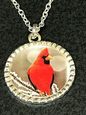 "Cardinal Red Bird on Snowy Branches Charm Tibetan Silver with 18"" Necklace"