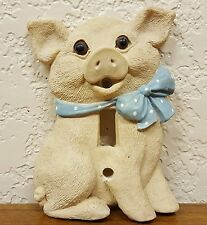 Vintage Resin Pig w/ Bow Scarf Light Switch Wall Plate