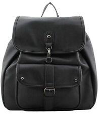 Black Women's Girls Travel Faux Leather Rucksack Backpack School Shoulder Bag