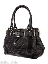 """SUBSTANTIAL CHIC PRACTICAL LARGE BURBERRY Quilted Black LEATHER """"BREATON"""" BAG"""