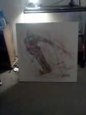 Large oil painting Downhill Skier by Jenkins