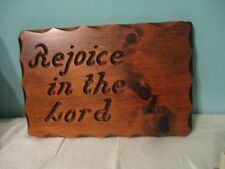 wood carved picture Rejoice in the Lord with candle holder