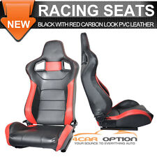 Black Red Carbon Pvc Leather Full Reclinable Racing Seats Pair Slider Left Right