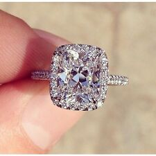 4.00 Ct. Cushion Cut Authentic Diamond Halo Eternity Pave Engagement Ring - GIA