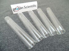 5 x Pyrex Glass Test Tubes 12mm x 75mm Rimless with Push Caps ( Pack of Five )