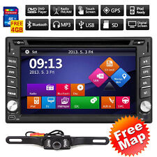 GPS Navigation HD Double 2DIN Car Stereo DVD Player Bluetooth iPod MP3 TV+C