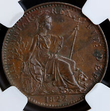 1822 UK Great Britain Farthing NGC MS 62 BN KM# 677 - S. 3822 George IV