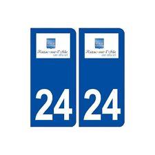 24 Razac-sur-l'Isle blason autocollant plaque stickers département arrondis