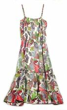 Esprit White blue green red pink purple floral ruffled hem line Summer Dress 10