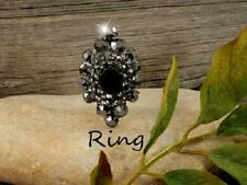 RING Jet Crystal Stretch Cocktail Party Ring Long Diamond Shape Black Crystals