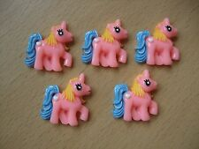 Pack of 5 Pink Unicorn Pony Flatback Cabochons Brand New 31mm Charm My Little