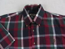 Quarters Men's S/S Button Down Dark Multi Color Plaid Casual Dress Shirt - M
