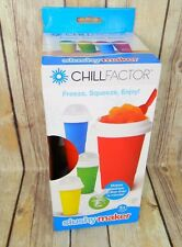 CHILL FACTOR Slushy Maker RED - NEW - FREEZE, SQUEEZE, ENJOY! LESS THAN 1 MIN!
