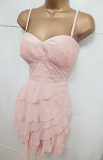 Lipsy - Elegant Pleat Layer Style Shift Party Dress Peach Size 12