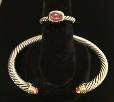 ❤️NIB DAVID YURMAN $1150 PINK TOURM. 18K/SS COLOR CLASSICS M-BRACELET+RING-7-SET