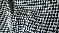 Blue Houndstooth design crepe mix hangs well dressmaking curtains cushion fabric