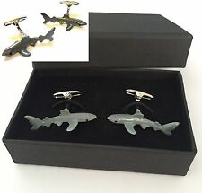 SHARK Cufflinks Jaws  Present Christmas Gift Boxed Free UK Post