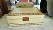 Vintage Ivory Mele Jewelry Box Baby Blue Velvet Lining 3 tier