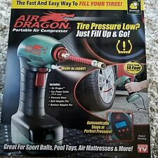 AS SEEN ON TV AIR DRAGON Handheld Portable Air Compressor, LED Light, Tire Pump