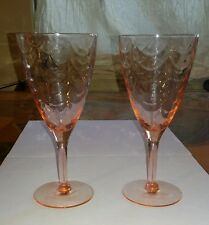 "Pair of Vtg Pink Depression Wine Glasses Cocktail 7"" Tall Nice Rippled Effect"