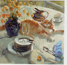 VERY RARE Red cat lies on the table by Maria Pavlova Russian modern postcard