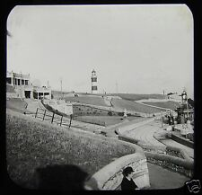 Glass Magic Lantern Slide PLYMOUTH C1900 ENGLAND DEVON PHOTO RAILWAY LIGHTHOUSE