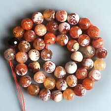 8mm Orange Fire Agate Round loose bead 15.5 inch