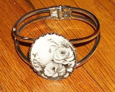 VINTAGE 50s SPRING TENSION SILVER BANGLE BRACELET PORCELAIN ROSE PAINTING SIGNED