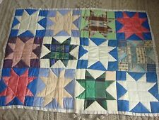 Antique C1890 Colorful Silk Maine Crib Quilt Hand Pieced + Quilted Doll Stars