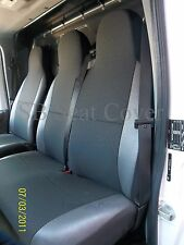 FORD TRANSIT VAN (SMILEY) SEAT COVERS - ANTHRACITE BLACK LEATHERETTE TRIMS