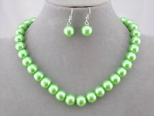 Classic Pearl Necklace Set Green Silver Single Strand Fashion Jewelry NEW